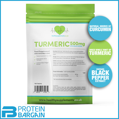 Healthy Supplements Turmeric 500mg With Black Pepper 100 Tablets Inflammatory