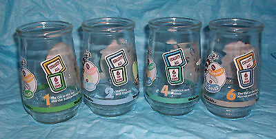 Lot of 4 Vintage Welch's Jelly Jar/Glasses Dr Seuss Cat in The hat 1, 2, 4 & 6