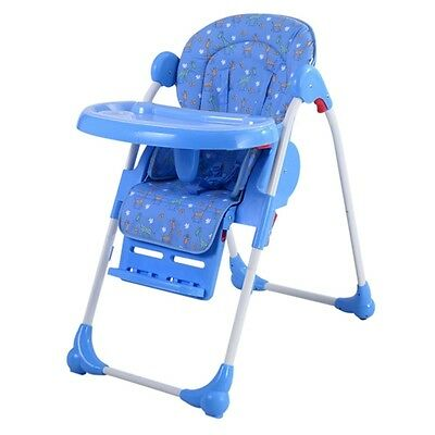 New Blue Adjustable Baby High Chair Infant Toddler Feeding Booster Seat Folding