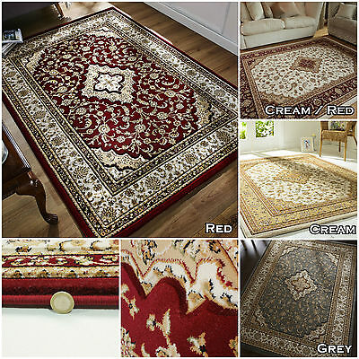 New Elegant Classic Traditional Small Large Soft Ottoman Red Cream Grey Area Rug