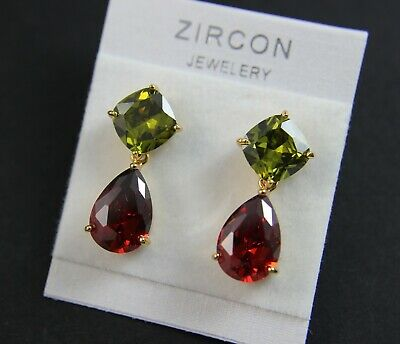 Superior Cut Cubic Zirconia Two Stone Teardrop Prom Party Earring UK New