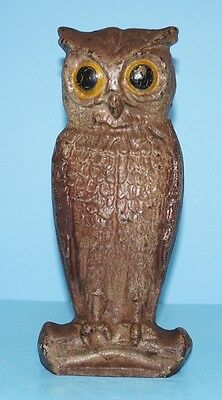 ANTIQUE OWL ON BRANCH CAST IRON DOORSTOP METAL ART BIRD CIRCA 1930's