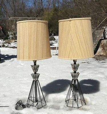PAIR 50s Wire & Crystal Table Lamps Mid Century Modern Atomic Hairpin Industrial