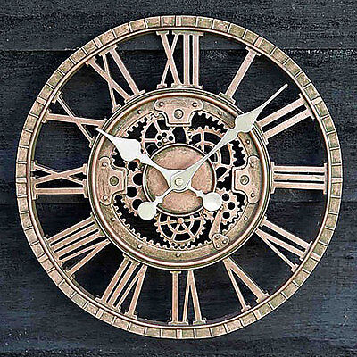 Large Outdoor Garden Wall Clock Open Face Metal Large Big Roman Numerals Outside