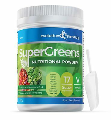 SuperGreens Greens Powder 17 Super Fruit & Veg 500g w/ Scoop Evolution Slimming