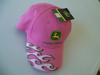 New Ladies John Deere Pink Flame NWT Baseball Cap New JD Ladies Ponytail Cap Hat