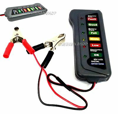 12V 24V  6 Led Tester Digitale Per Verifica Controllo Batteria Alternatore Auto