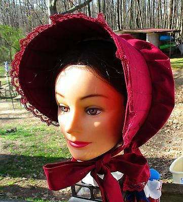 Civil War Dress Victorian Accessories Lady's Burgundy Cotton Slat~Sun Bonnet