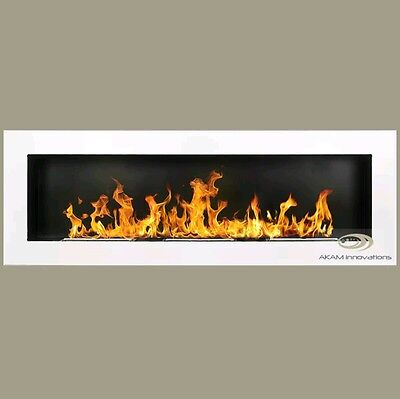,15¥   BIO ETHANOL FIREPLACE *Excellence* WHITE GLOSS XXL 140x40 Wide flame
