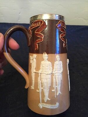 early antique ROYAL DOULTON stoneware tankard SPEED WHEEL bicycles mug RARE