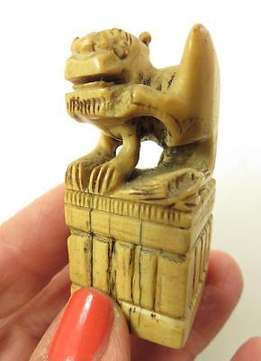 Antique Chinese Hand Carved Bovine Bone Foo Dog Seal Red Symbols