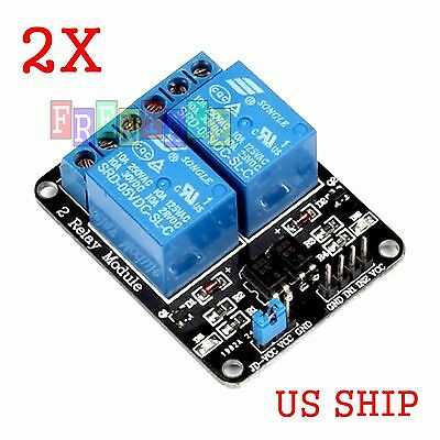 2X PCS 2 Channel DC 5V Relay Switch Module Arduino Raspberry Pi ARM AVR