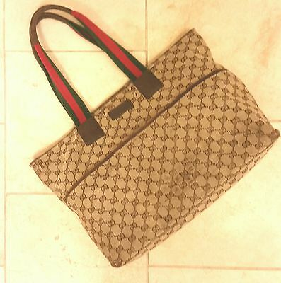 GUCCI monogram GG Canvas Diaper Baby Bag tote preloved AUTHENTIC