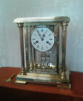 2 STONE SOLID brass 8 day bell chiming mantle clock with real mercury pendulum