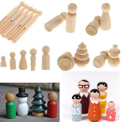Plain Blank Wooden People Peg Dolls Figures Wedding Cake Toppers DIY Craft Toys