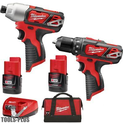 M12 12 Volt Lithium-Ion Cordless Hammer Drill/Impact Combo Milwaukee 2497-22 New