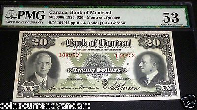 1935   Bank Of Montreal $20  . Pmg 53  - 3Rd Highest Pmg Grade