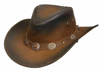 New Leather Cowboy Western Aussie Style Hat Conchos