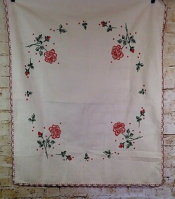 """Tablecloth Hand Embroidered Roses Vintage Red Green White 34x41"""""""