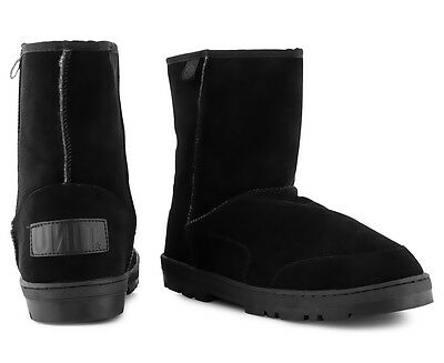 Unit Men's Rider Leather Ugg Boot - Black
