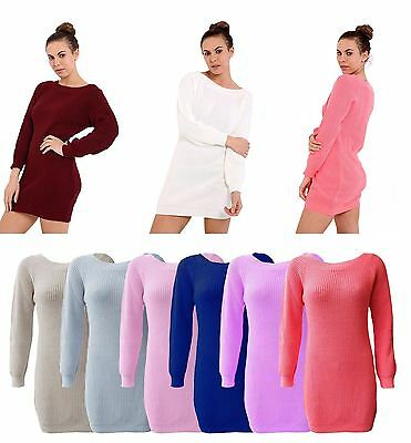 Ladies  Knitted Over size Fisherman Baggy Jumper Chunky Long Sweater Dress