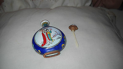 Vintage Chinese Snuff Bottle- Enamel on Copper Hand Painted Women & Floral Vines
