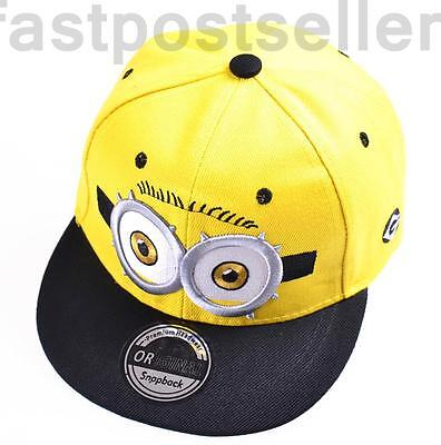 Kids Boys Despicable Minions Snapback Baseball Cap Hat Adjustable Gift Accessory