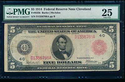 AC Fr 835b 1914 $5 Cleveland FRN red seal PMG 25