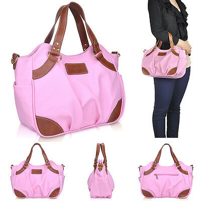 Ladies Shoulder Handbag Totes Womens Cross Body Bag Faux Leather Hobo Purse Pink