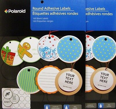 """320 Polaroid 2"""" Round Label Stickers Adhesive Blank Ink Jet Gift Tags Storage"""