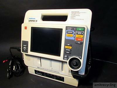 Lifepak 12 Biphasic 3 Lead ECG AED Analyze NIBP SpO2 w/AC Adapter Charger