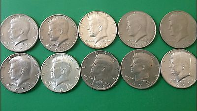 Kennedy Half Dollars, Lot of 10, Ten (10) Separate Dates, Nice Coins