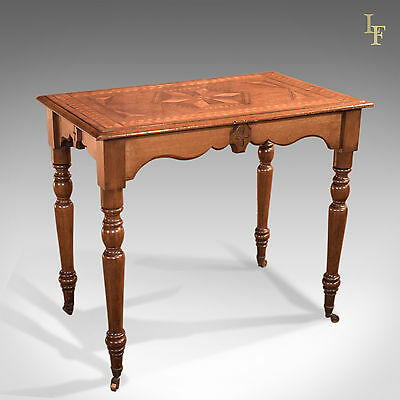 Antique Side Table, Georgian, English, Inlaid, Oak, Occasional, c.1800