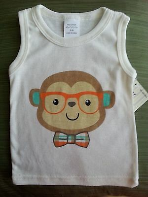 Baby Infant Sleeveless T~Shirt Size 3-6 Months~Hipster Monkey~Cotton Blend Nwt