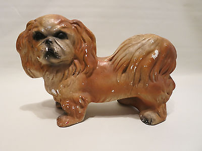 Vintage CHALK Pekingese Dog Figure Figurine Pekinese USA - CUTE SEE!