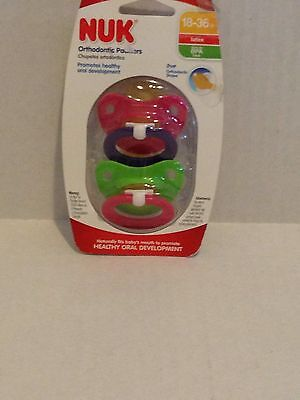 NUK LATEX ORTHODONTIC PACIFIER 18-36 Pink Green M