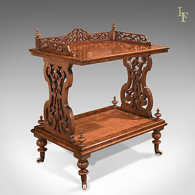 Antique Side Table, Late Regency, Burr Walnut, Drinks Trolley, c.1830