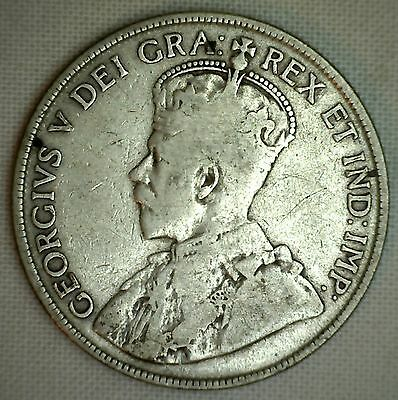1916 Canada Silver 50 Cents Canadian Fifty Cent Coin Very Good - VG
