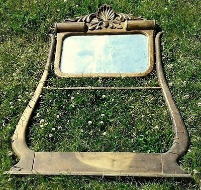 Antique Oak Hotel Wash Stand Mirror w Beveled Mirror and Towel Bar C 1920