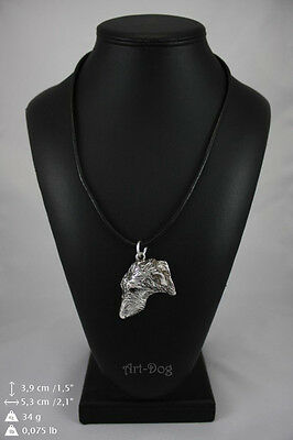 Deerhound silver covered necklace, high quality keychain Art Dog
