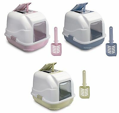 Premium Pet Cat Litter Tray Box Hooded Gated Filter Scoop