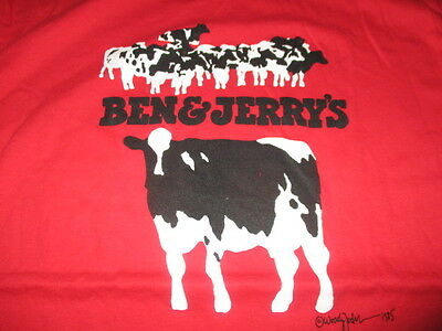 Rare Vintage 1985 BEN & JERRY'S ICE CREAM Vermont's Finest (XL) T-Shirt B&W COWS