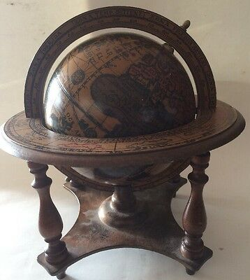 "VINTAGE OLD WORLD SPINNING ZODIAC GLOBE w WOOD STAND ITALY 11"" Tall -Great Color"
