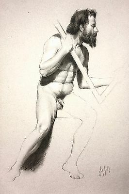 Antique Male Nude Drawing / Academic Study / 19th Century Original / Signed