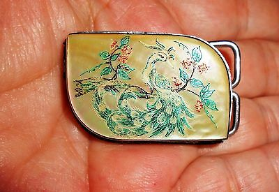 Gorgeous Vintage Belt Buckle, Oriental Peacock, Hand Painted on Mother of Pearl