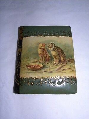 Old Victorian Celluloid Cover Autograph Album Two Cats Kittens