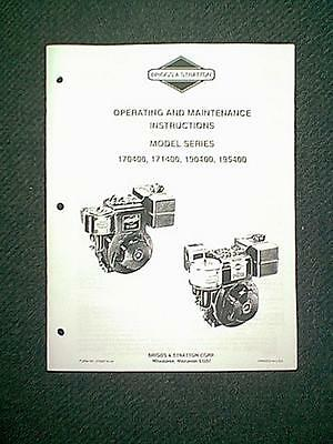BRIGGS STRATTON Engine Series 170400 171400 190400 195400 Owners Manual 6 85
