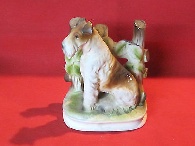 Vintage Nanco porcelain Wire Haired Fox Terrier dog figurine with label