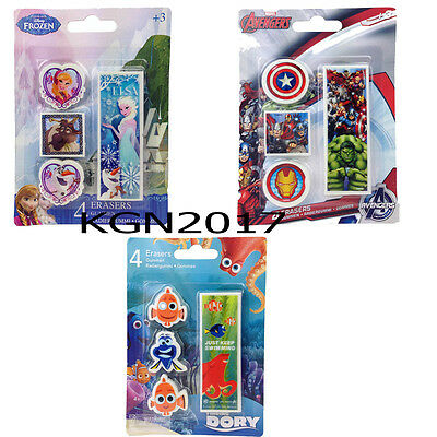 Boys Girls Disney Marvel Pack Of 4 Rubber Erasers Frozen Finding Dory Avengers