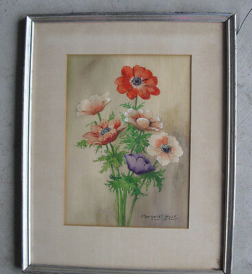 Original Margaret Ayer Watercolor Painting of Bouquet of Flowers Framed LOOK